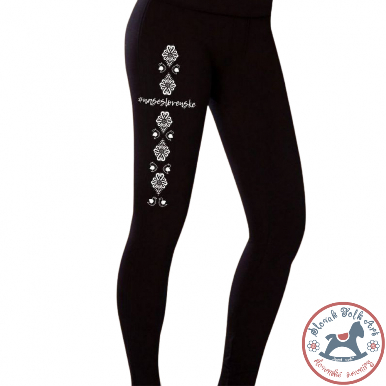 Thermo leggings with a folk ornament BIRDS