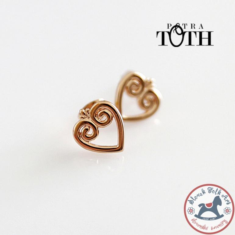 Earrings pink-gold hearts