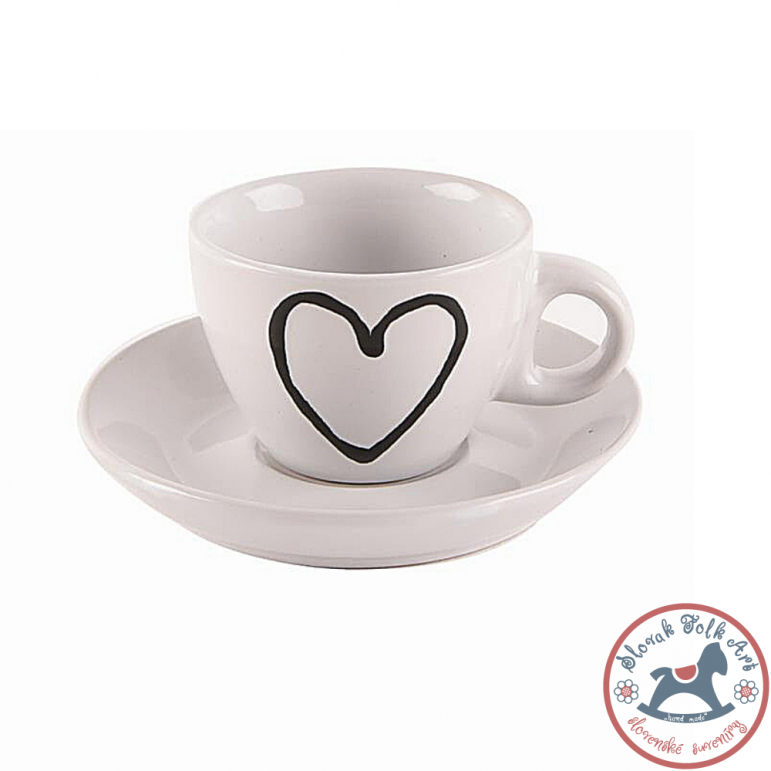Heart mug with saucer 0.09l white