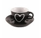 Heart mug with saucer 0.09l black