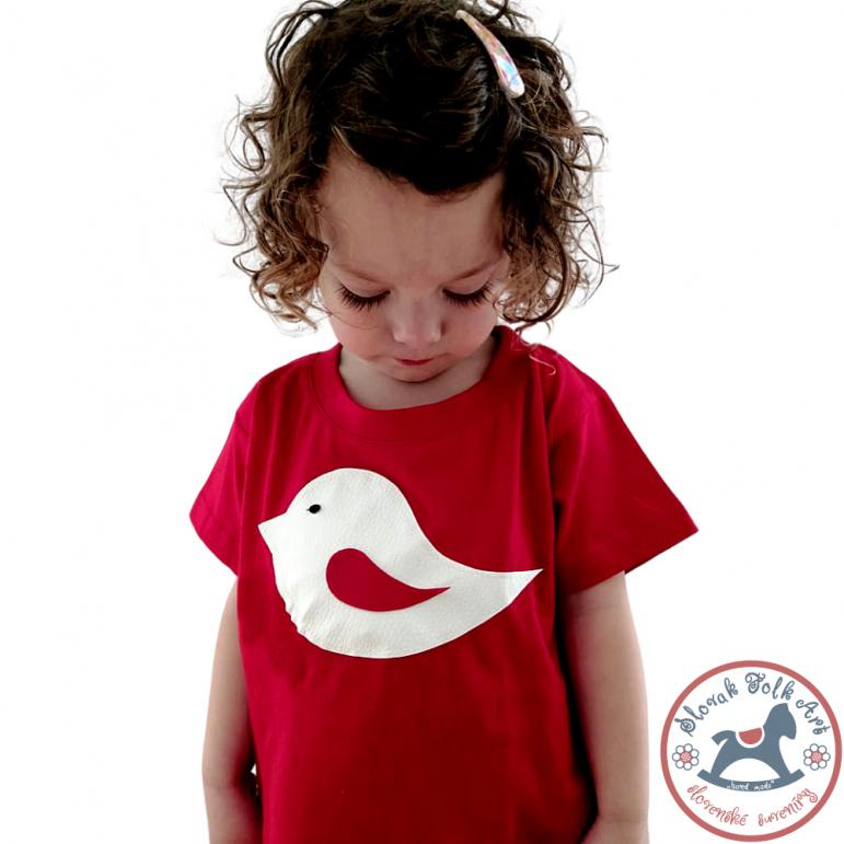 Detské pískacie tričko červené (vtáčik)