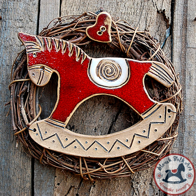 Wreath horse red small