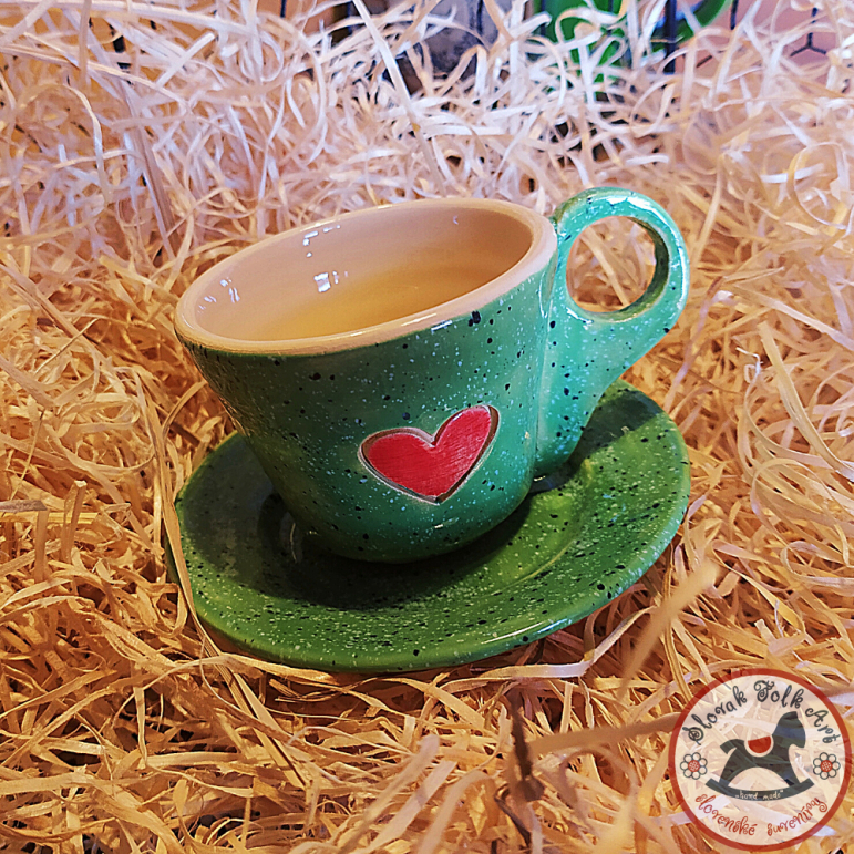 Presso cup with saucer Art (green)