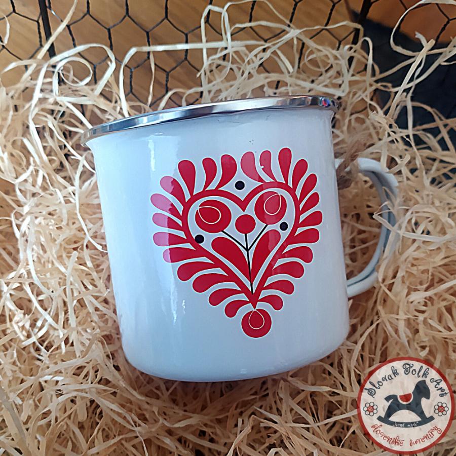Enamel cup folk red heart