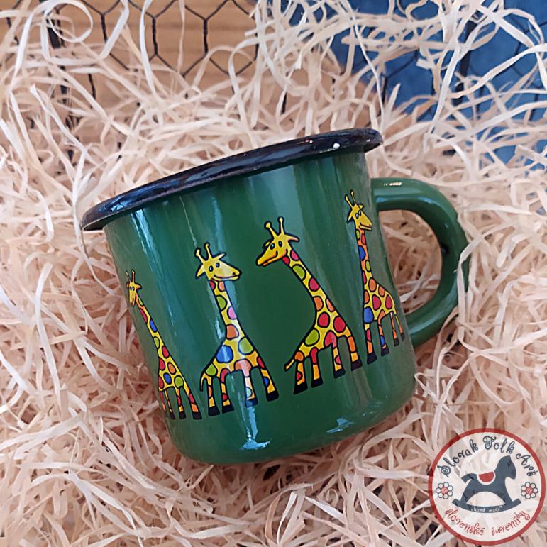 Enamel mug Giraffe 0.35l (green)