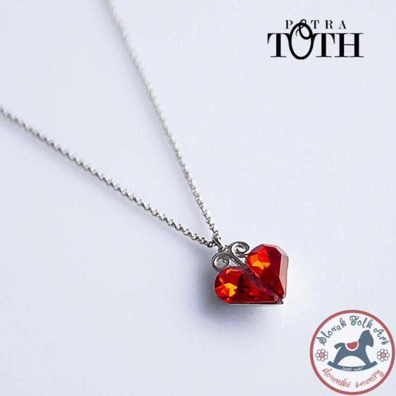 Pendant FOLKIE red heart + earrings free
