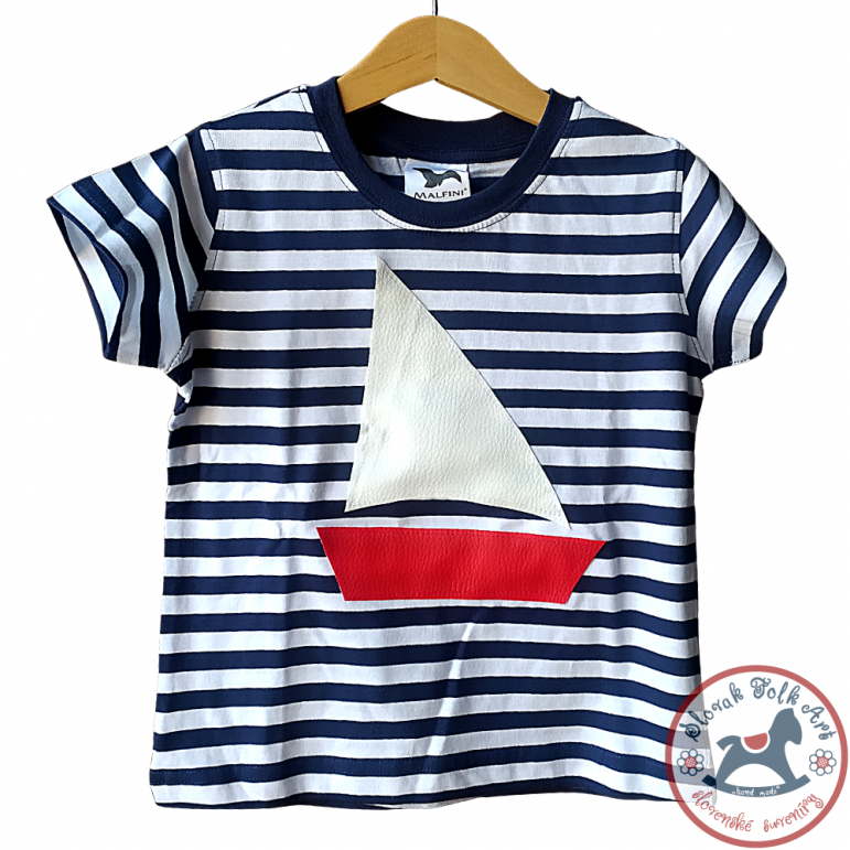 Children's whistling T-shirt (striped with ship)