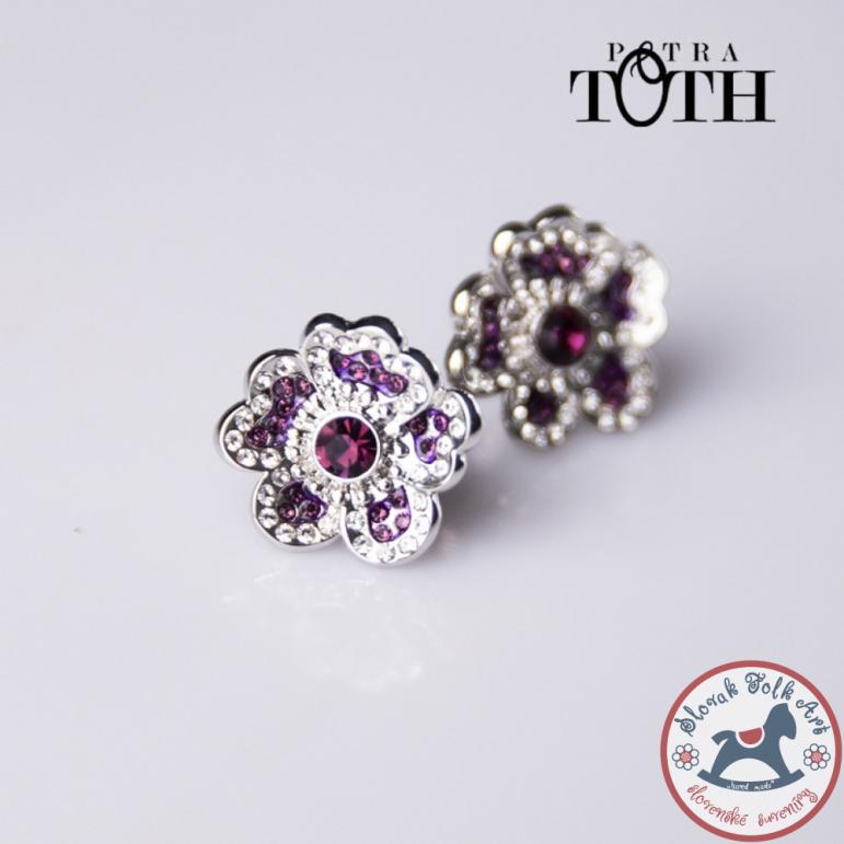 Earrings FOLKIE purple faithful flowers