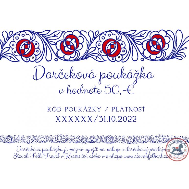 Darčeková poukážka 50,- € (modrá)