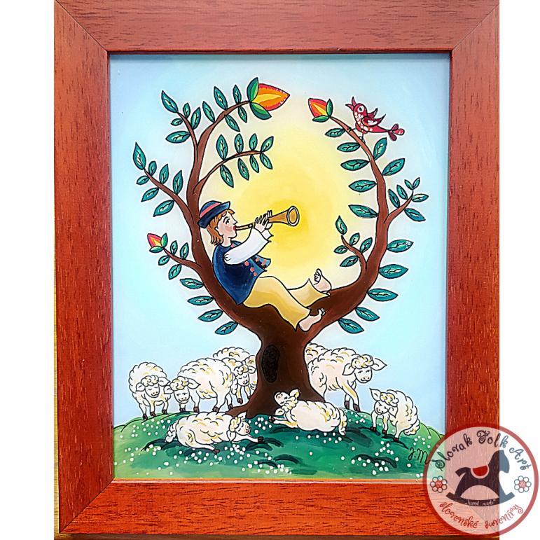 Maľba na sklo -  Pastier oviec 3