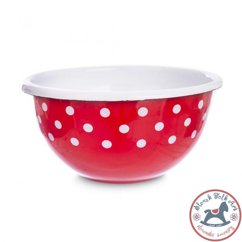 Enamel bowl DOTS (red)