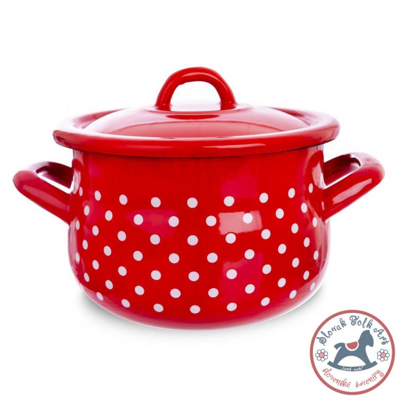 PODKA enamel pot with lid (red)