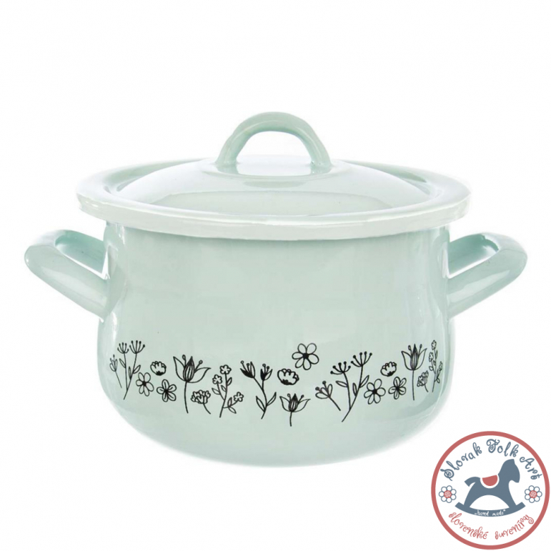 LUKA enamel pot with lid (green)