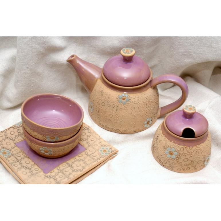 """Tea set ,,On the fence"""" - pink"""